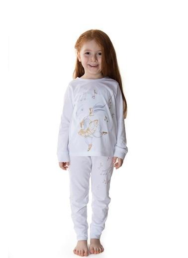 Hays Kids Kız Çocuk Penye Pijama Takımı Beyaz